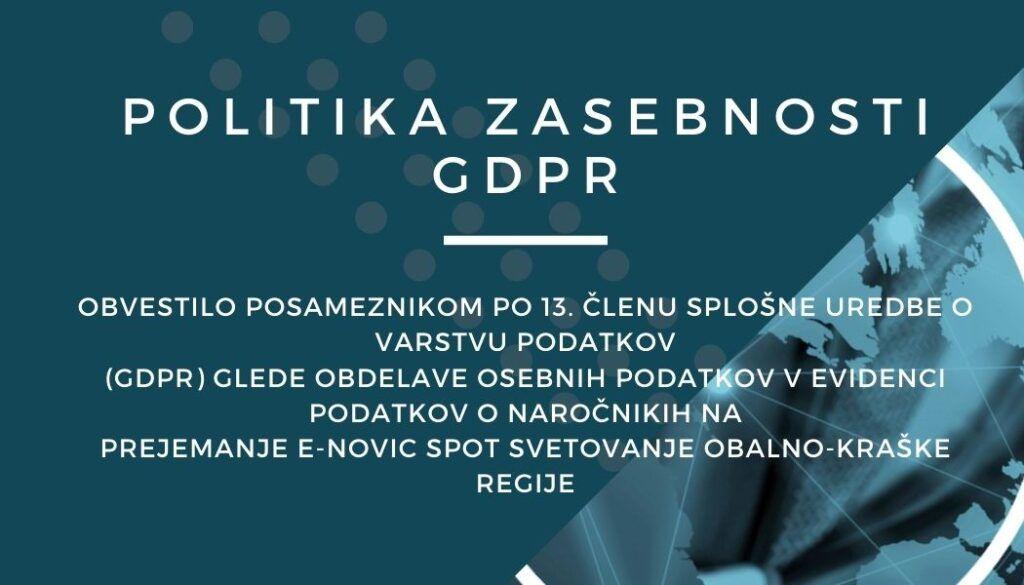 Politika zasebnosti za uporabnike storitev SPOT svetovanje Obalno – kraške regije
