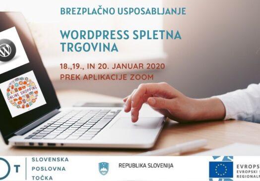 """Brezplačno usposabljanje """"WordPress spletna trgovina"""""""